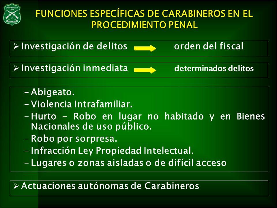FUNCIONES ESPECÍFICAS DE CARABINEROS EN EL PROCEDIMIENTO PENAL