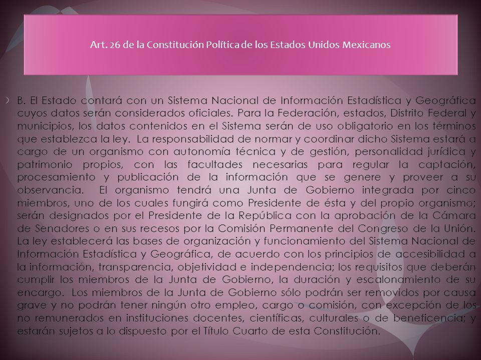 Art. 26 de la Constitución Política de los Estados Unidos Mexicanos