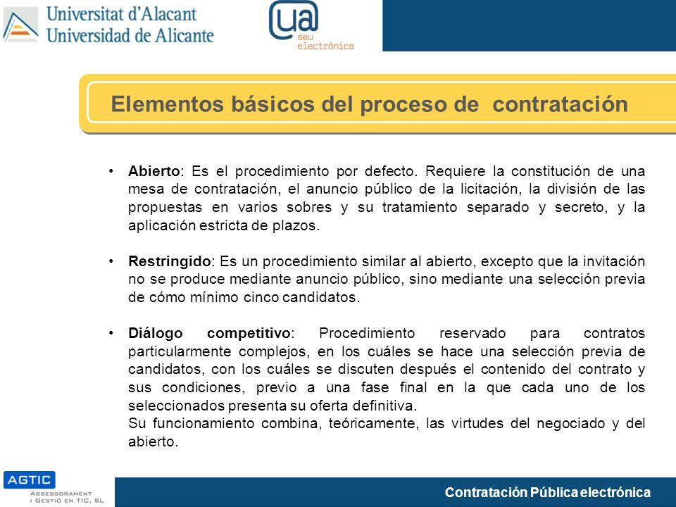 Elementos básicos del proceso de contratación
