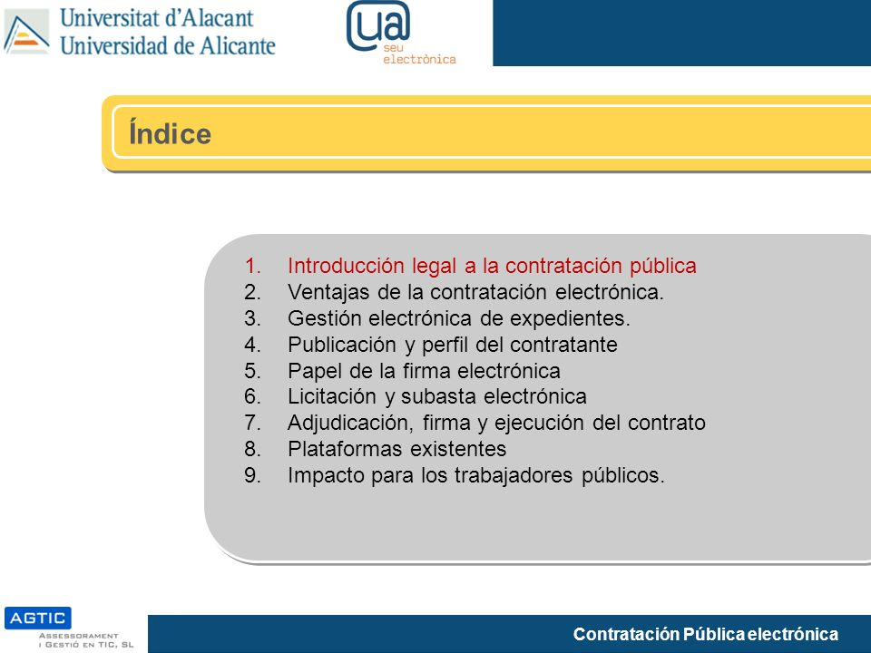 Índice Introducción legal a la contratación pública