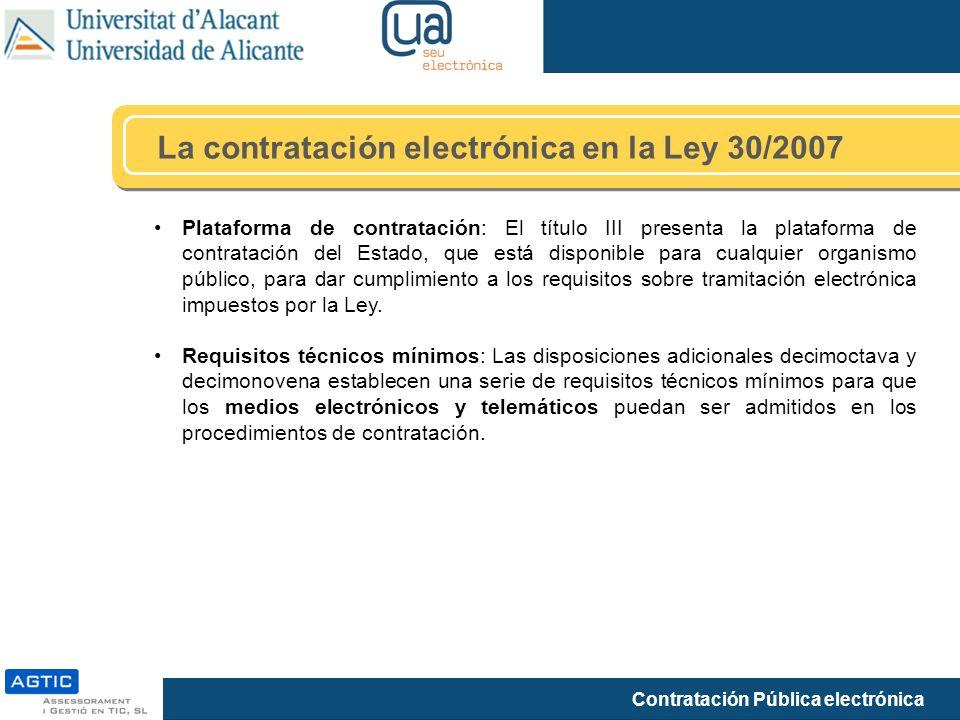 La contratación electrónica en la Ley 30/2007