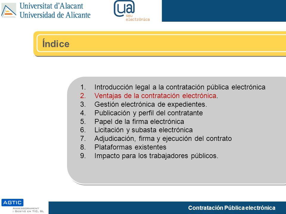Índice Introducción legal a la contratación pública electrónica