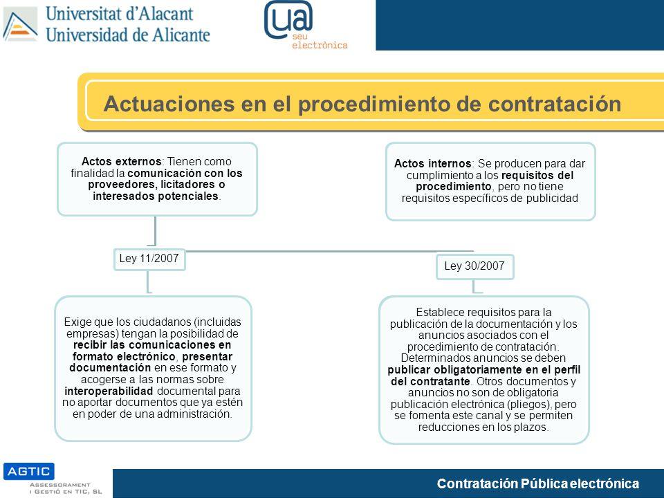 Actuaciones en el procedimiento de contratación