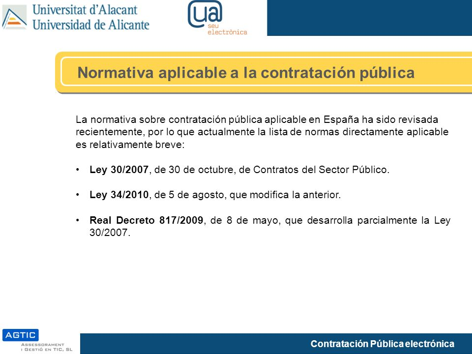 Normativa aplicable a la contratación pública
