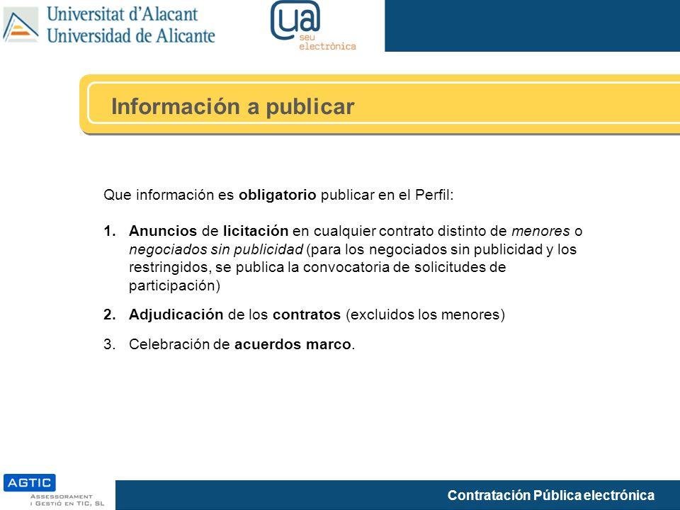 Información a publicar