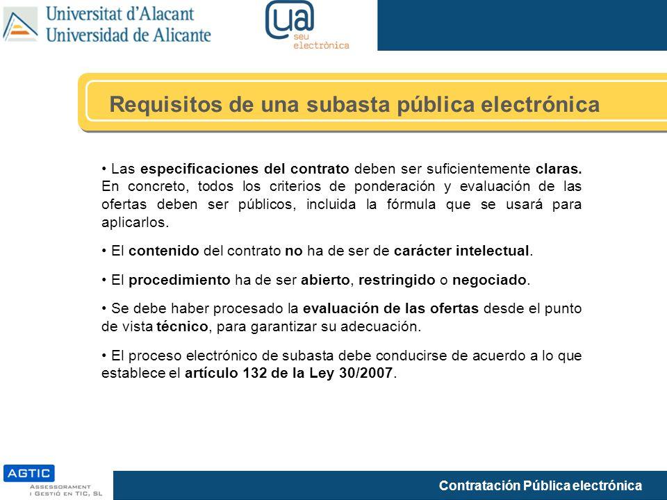 Requisitos de una subasta pública electrónica