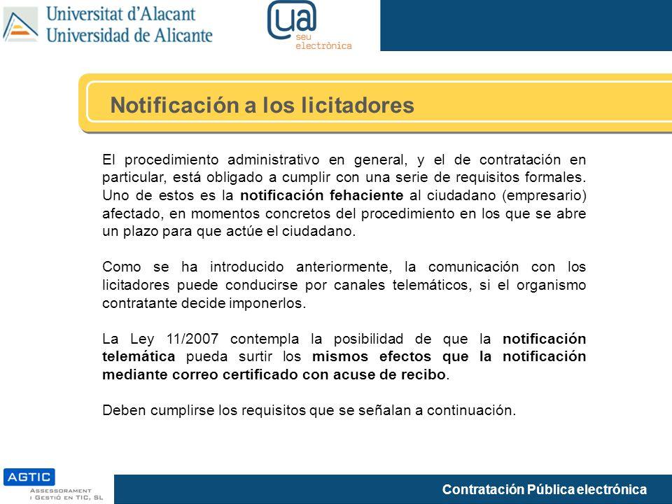 Notificación a los licitadores