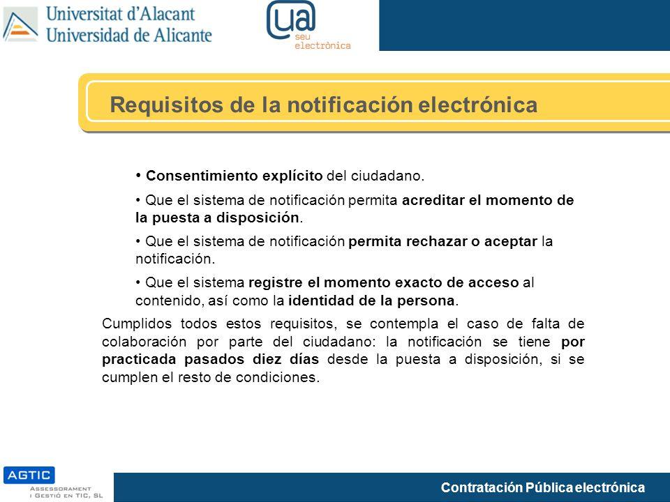 Requisitos de la notificación electrónica