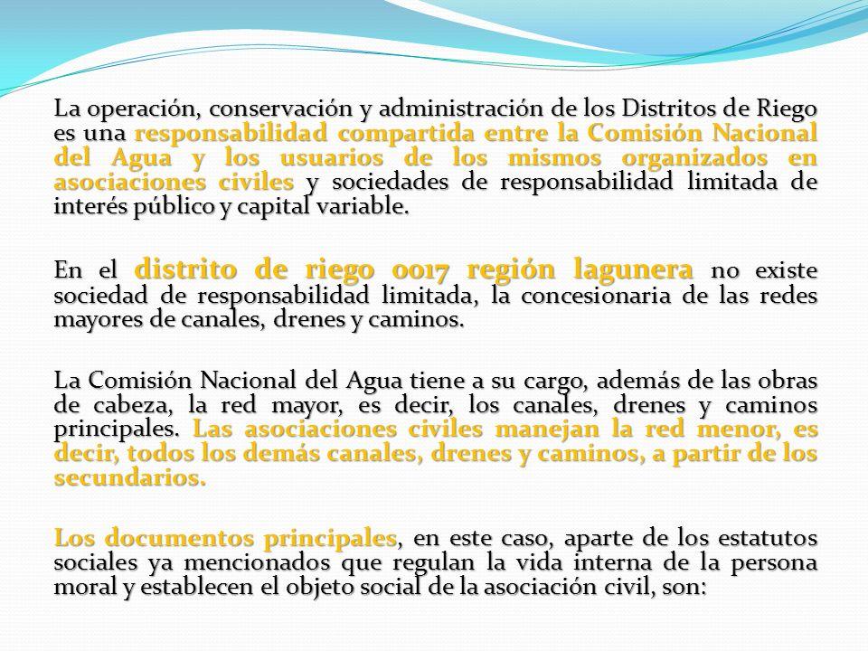 La operación, conservación y administración de los Distritos de Riego es una responsabilidad compartida entre la Comisión Nacional del Agua y los usuarios de los mismos organizados en asociaciones civiles y sociedades de responsabilidad limitada de interés público y capital variable.
