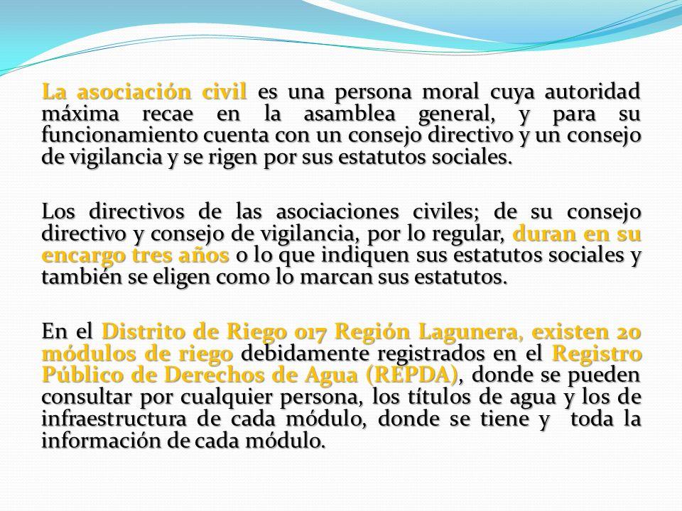 La asociación civil es una persona moral cuya autoridad máxima recae en la asamblea general, y para su funcionamiento cuenta con un consejo directivo y un consejo de vigilancia y se rigen por sus estatutos sociales.