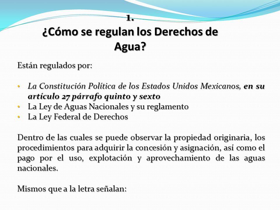¿Cómo se regulan los Derechos de Agua