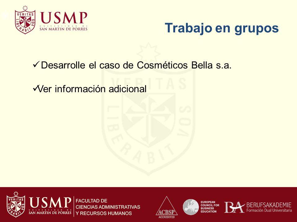 Trabajo en grupos Desarrolle el caso de Cosméticos Bella s.a.
