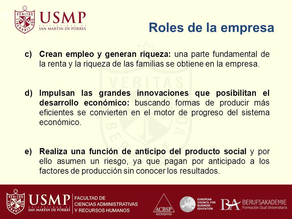 Roles de la empresa Crean empleo y generan riqueza: una parte fundamental de la renta y la riqueza de las familias se obtiene en la empresa.