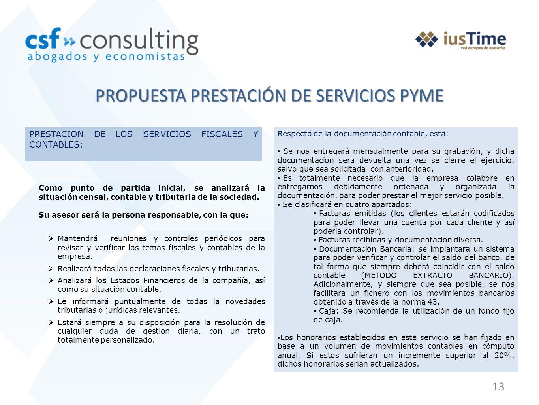 PROPUESTA PRESTACIÓN DE SERVICIOS PYME