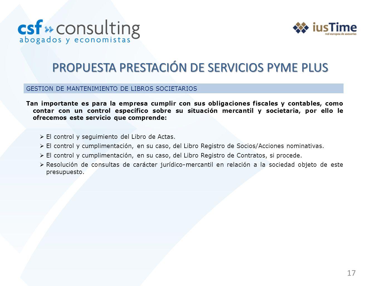 PROPUESTA PRESTACIÓN DE SERVICIOS PYME PLUS