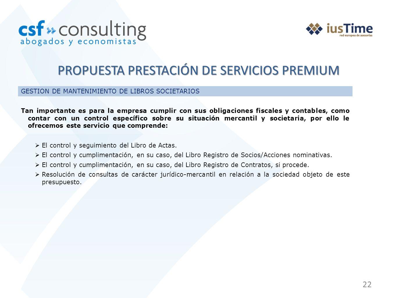 PROPUESTA PRESTACIÓN DE SERVICIOS PREMIUM