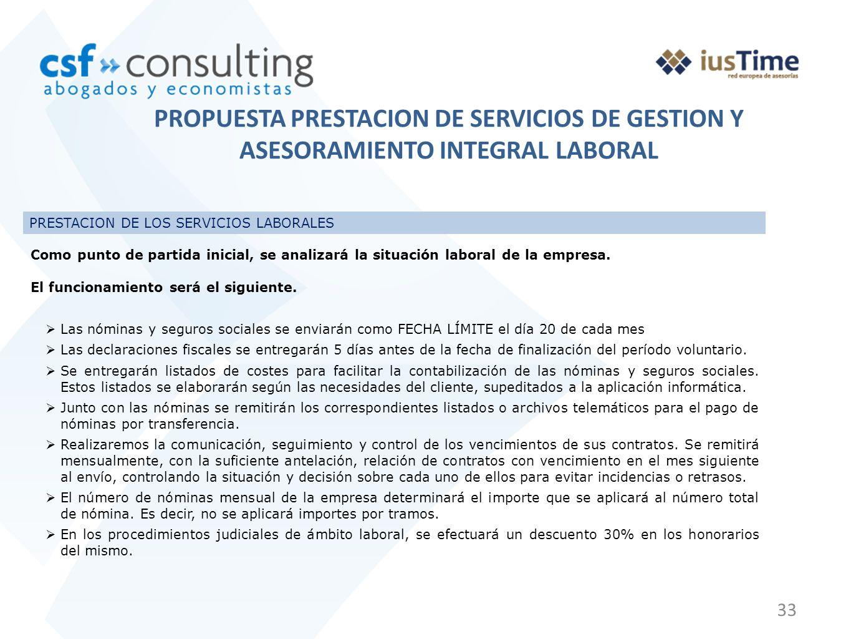 PROPUESTA PRESTACION DE SERVICIOS DE GESTION Y ASESORAMIENTO INTEGRAL LABORAL