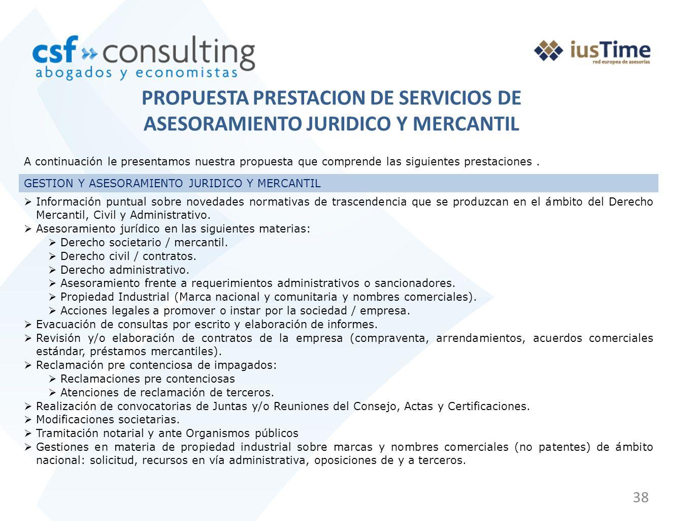 PROPUESTA PRESTACION DE SERVICIOS DE ASESORAMIENTO JURIDICO Y MERCANTIL
