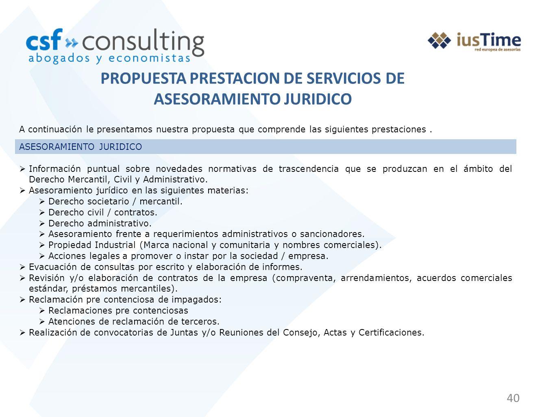 PROPUESTA PRESTACION DE SERVICIOS DE ASESORAMIENTO JURIDICO