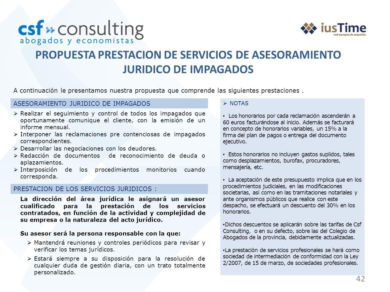 PROPUESTA PRESTACION DE SERVICIOS DE ASESORAMIENTO JURIDICO DE IMPAGADOS