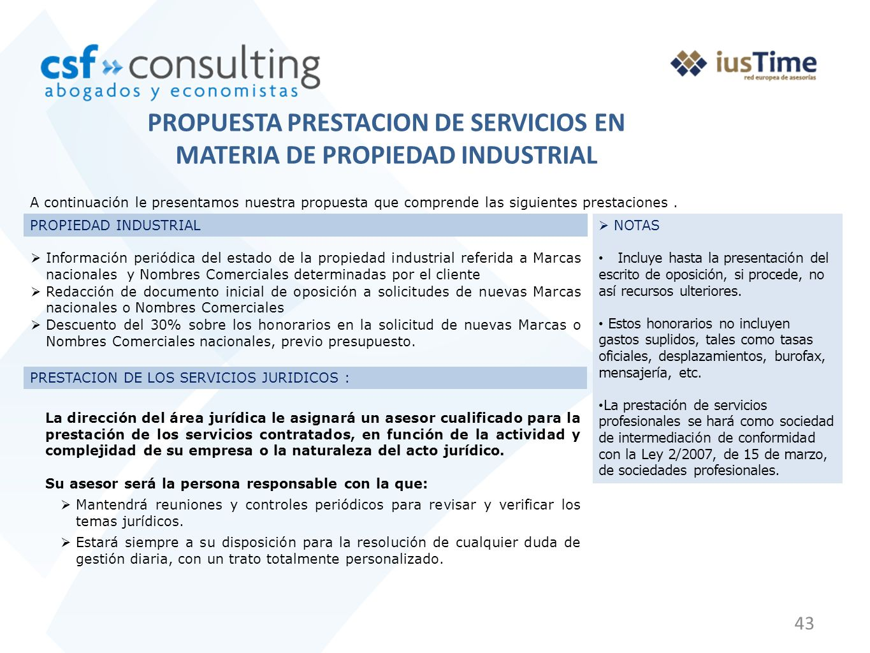 PROPUESTA PRESTACION DE SERVICIOS EN MATERIA DE PROPIEDAD INDUSTRIAL