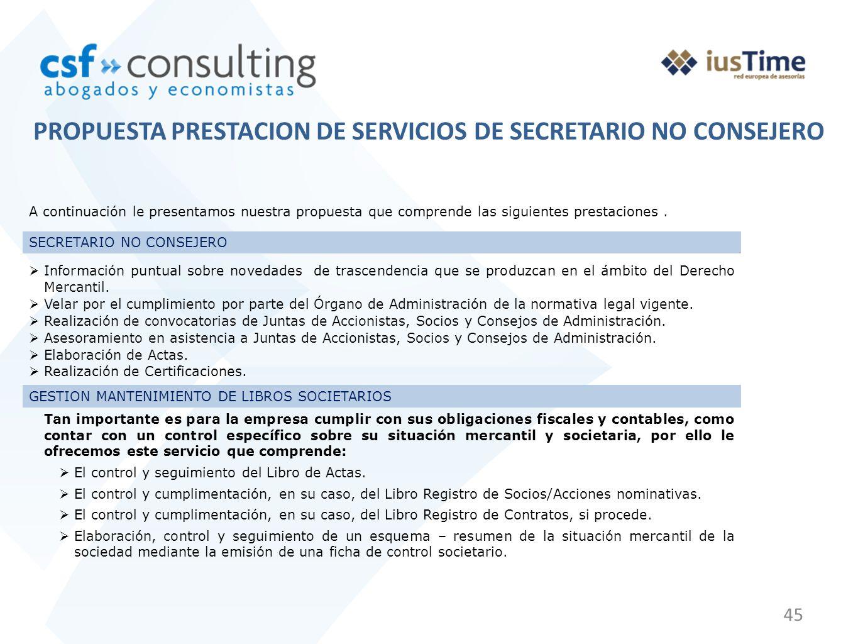 PROPUESTA PRESTACION DE SERVICIOS DE SECRETARIO NO CONSEJERO