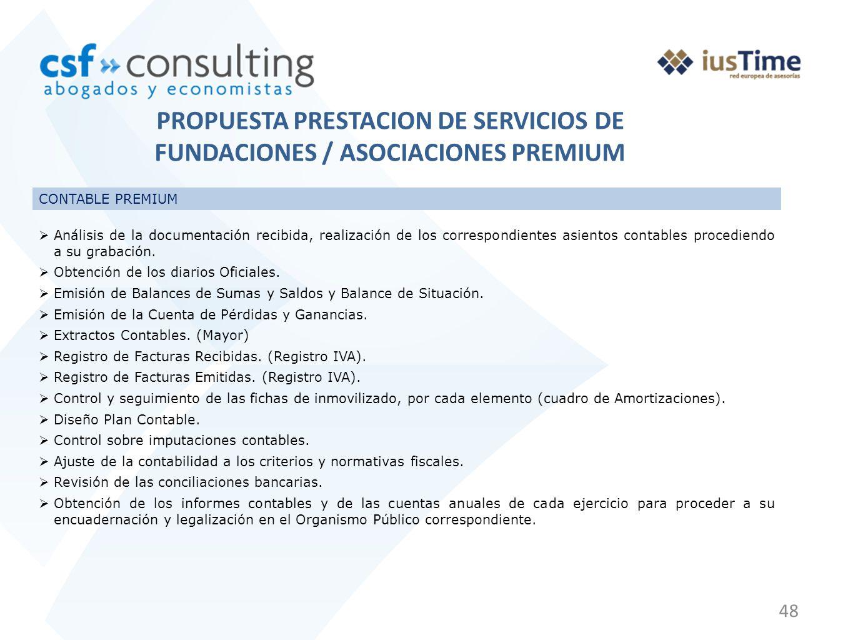 PROPUESTA PRESTACION DE SERVICIOS DE FUNDACIONES / ASOCIACIONES PREMIUM