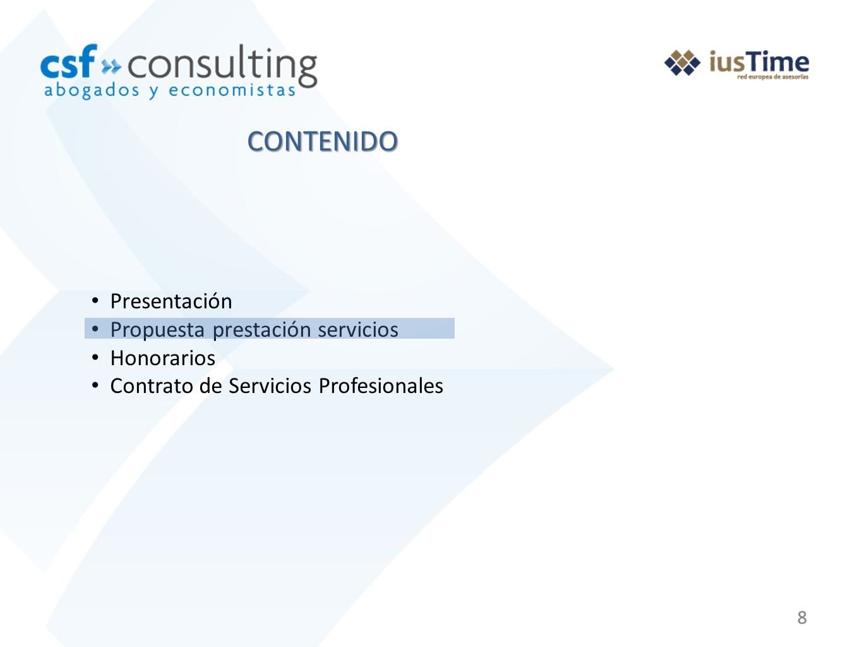 CONTENIDO Presentación Propuesta prestación servicios Honorarios