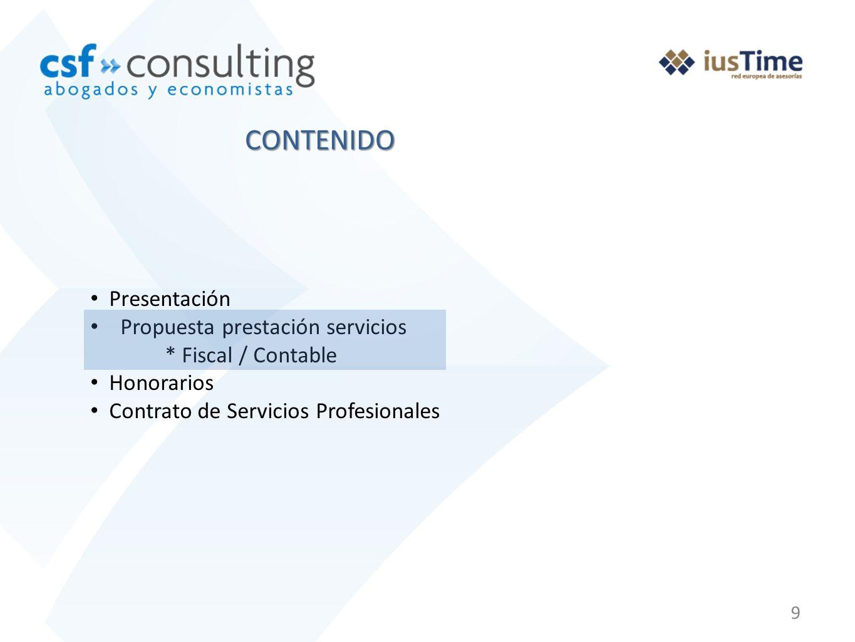 CONTENIDO Presentación Propuesta prestación servicios