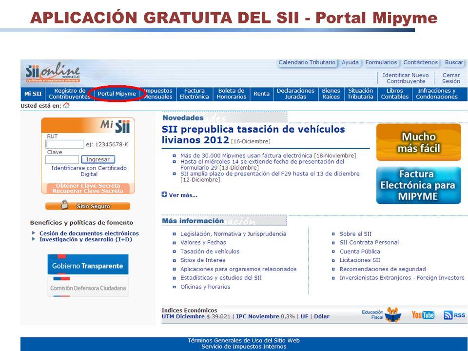 APLICACIÓN GRATUITA DEL SII - Portal Mipyme