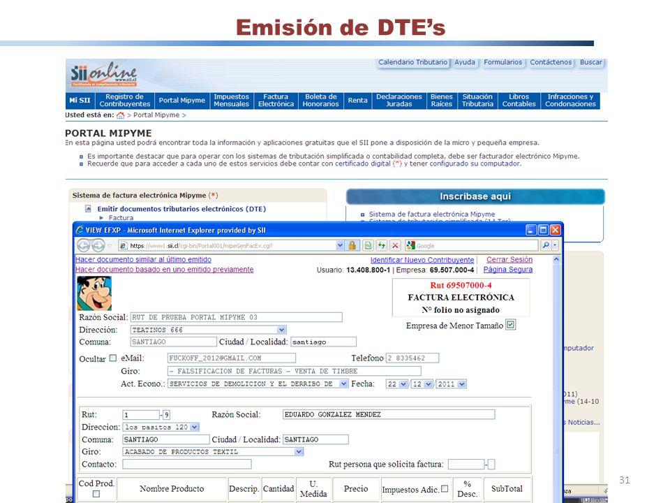 Emisión de DTE's