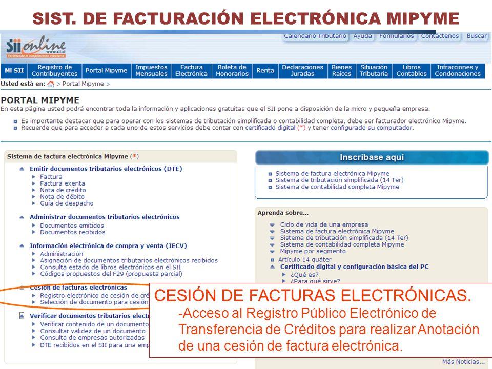 SIST. DE FACTURACIÓN ELECTRÓNICA MIPYME