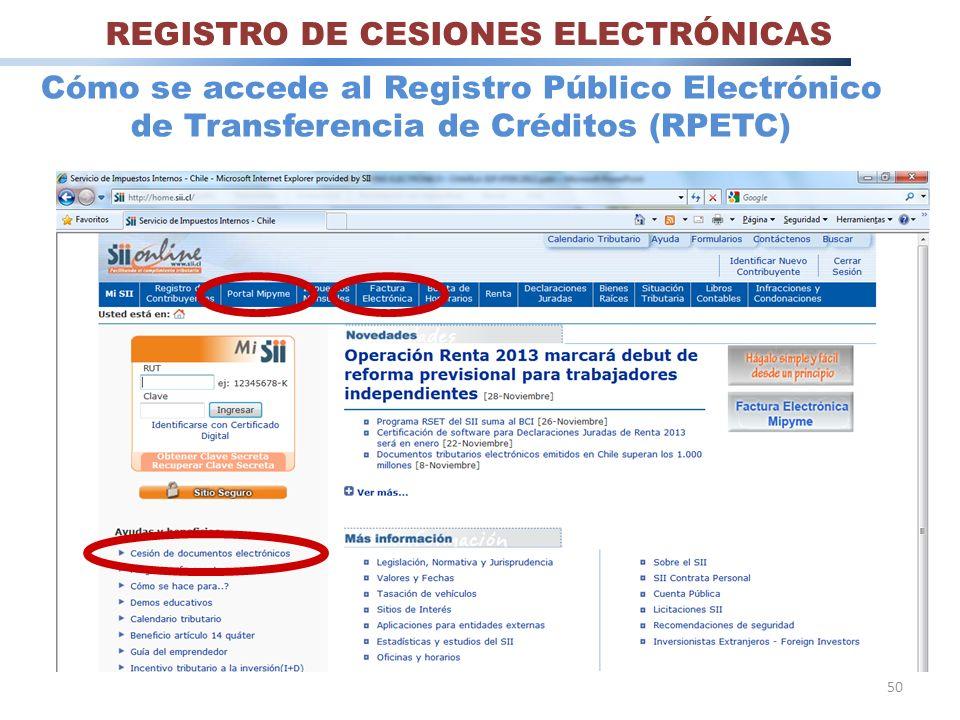 REGISTRO DE CESIONES ELECTRÓNICAS