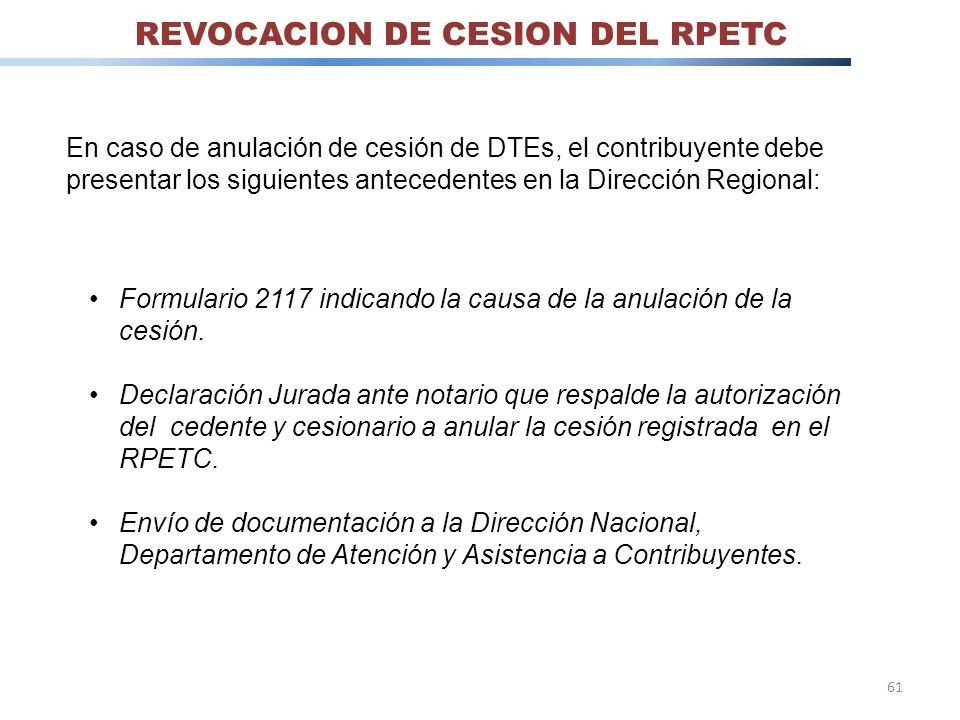 REVOCACION DE CESION DEL RPETC