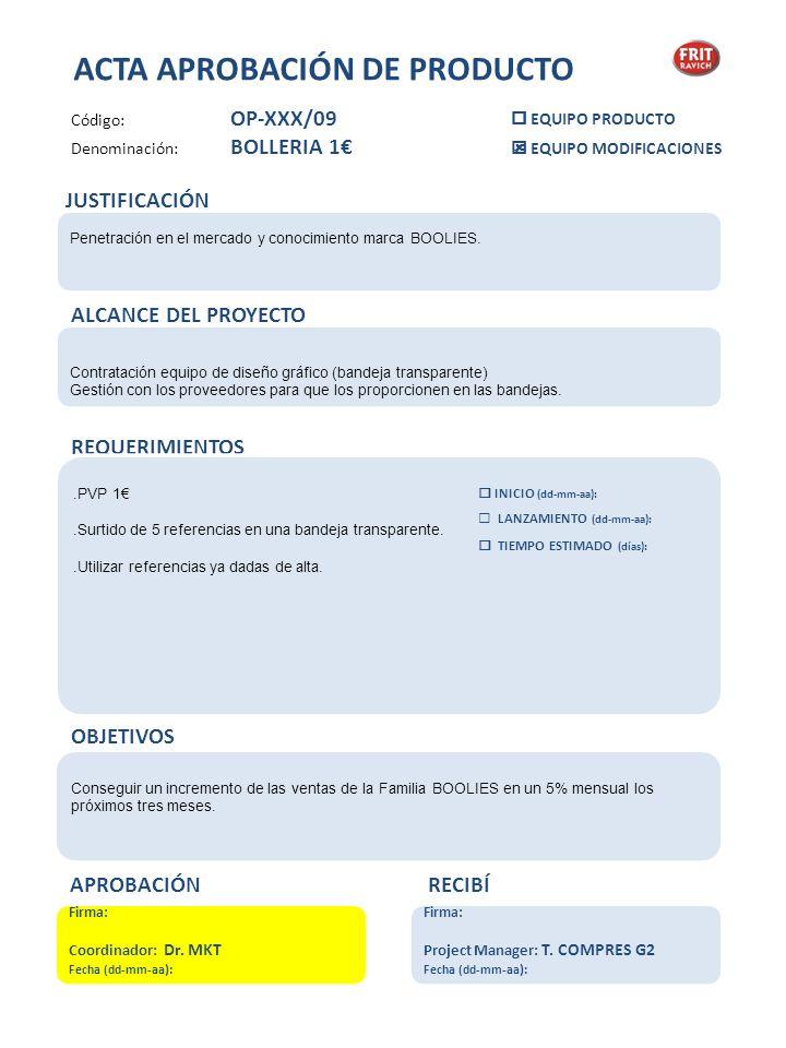 ACTA APROBACIÓN DE PRODUCTO