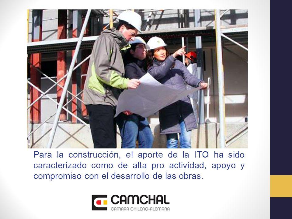 Para la construcción, el aporte de la ITO ha sido caracterizado como de alta pro actividad, apoyo y compromiso con el desarrollo de las obras.