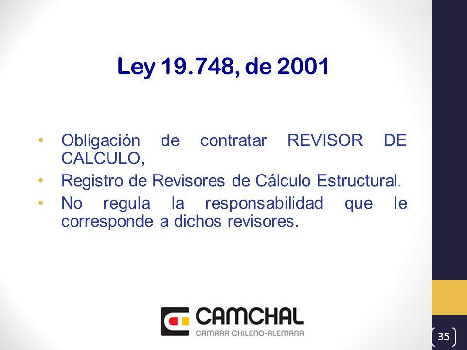 Ley 19.748, de 2001 Obligación de contratar REVISOR DE CALCULO,