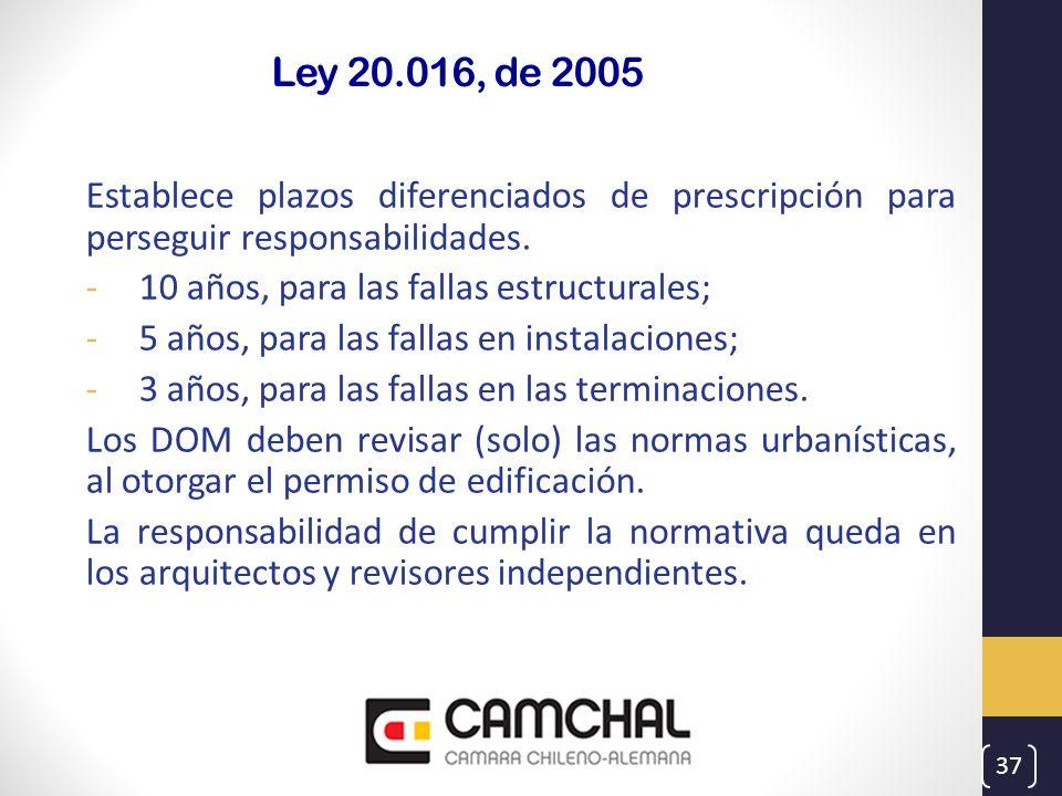 Ley 20.016, de 2005 Establece plazos diferenciados de prescripción para perseguir responsabilidades.