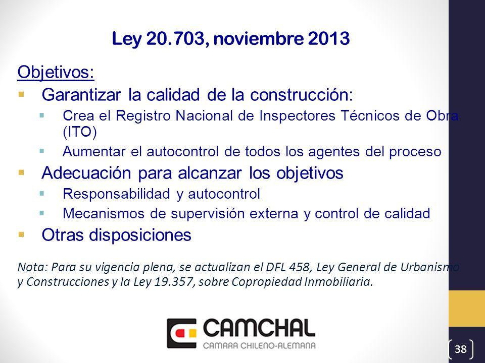 Ley 20.703, noviembre 2013 Objetivos: