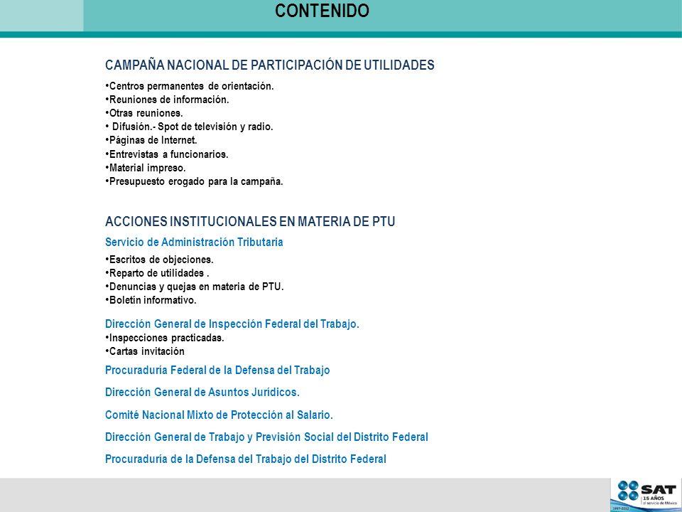 CONTENIDO CAMPAÑA NACIONAL DE PARTICIPACIÓN DE UTILIDADES