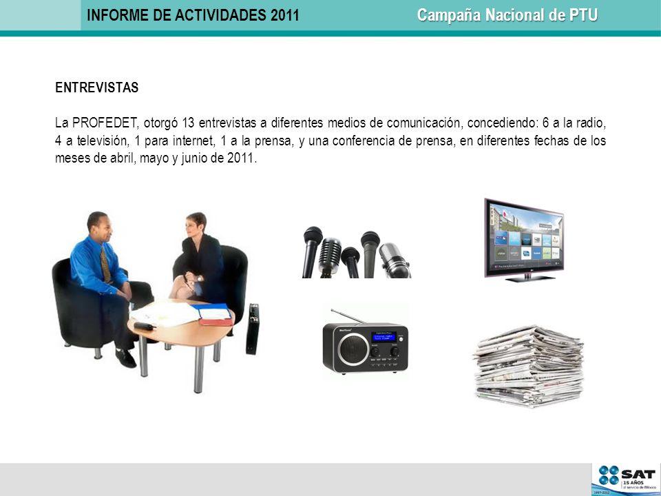 INFORME DE ACTIVIDADES 2011 Campaña Nacional de PTU