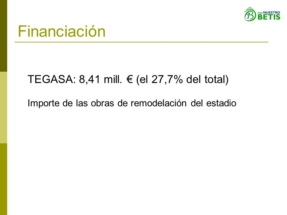 Financiación TEGASA: 8,41 mill. € (el 27,7% del total)