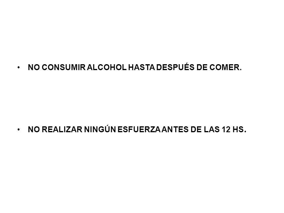 NO CONSUMIR ALCOHOL HASTA DESPUÉS DE COMER.