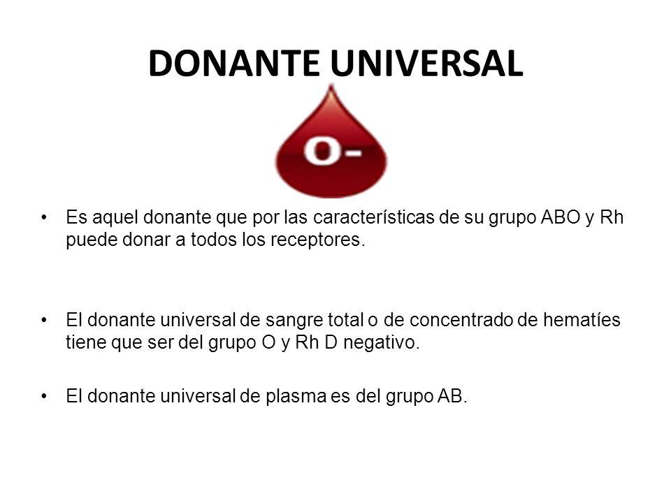 DONANTE UNIVERSAL Es aquel donante que por las características de su grupo ABO y Rh puede donar a todos los receptores.
