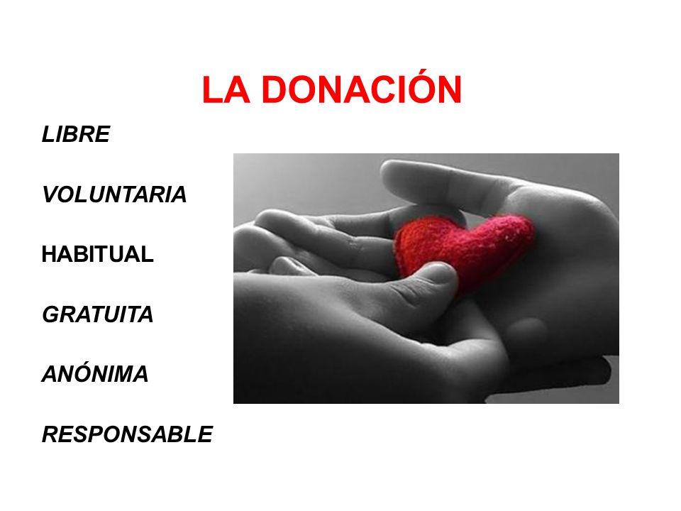 LA DONACIÓN LIBRE VOLUNTARIA HABITUAL GRATUITA ANÓNIMA RESPONSABLE