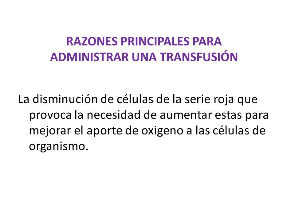 RAZONES PRINCIPALES PARA ADMINISTRAR UNA TRANSFUSIÓN