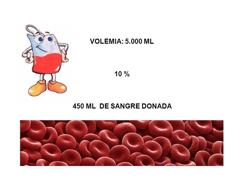 VOLEMIA: 5.000 ML 10 % 450 ML DE SANGRE DONADA