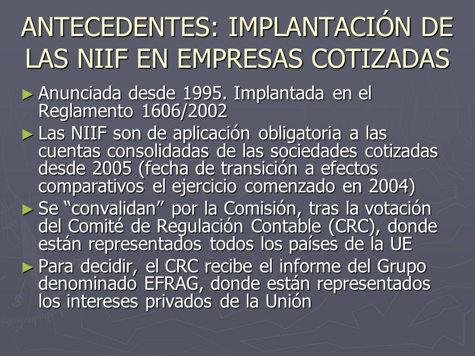 ANTECEDENTES: IMPLANTACIÓN DE LAS NIIF EN EMPRESAS COTIZADAS
