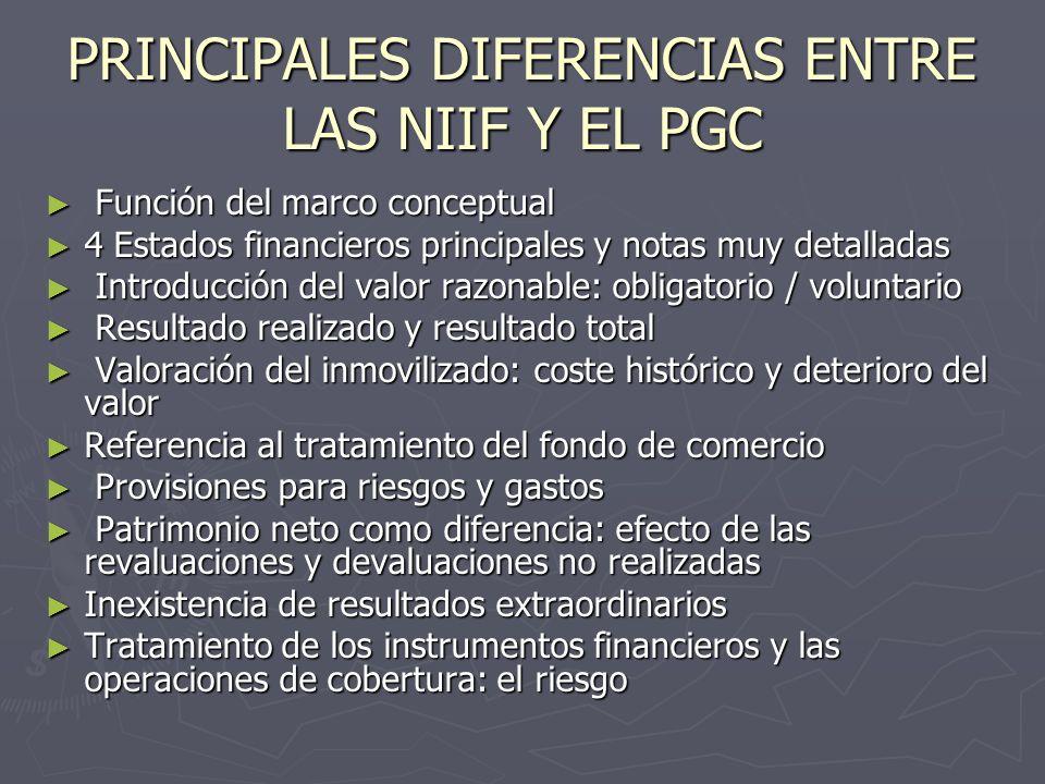 PRINCIPALES DIFERENCIAS ENTRE LAS NIIF Y EL PGC