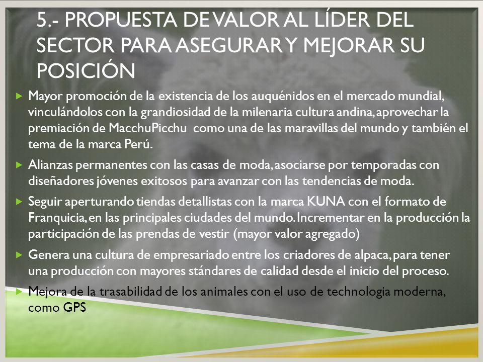 5.- propuesta de valor al líder del sector para asegurar y mejorar su posición